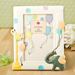 Adorable Giraffe and Elephant Baby Frame