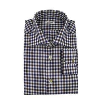Kiton Blue and Brown Checker Men's Dress Shirt