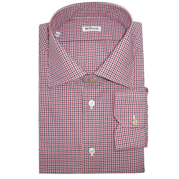 Kiton Men's Blue and Red Checker Dress Shirt