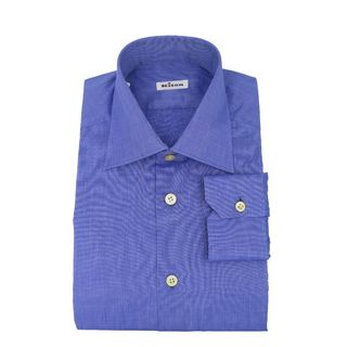 Kiton Blue Cotton Casual Dress Shirt