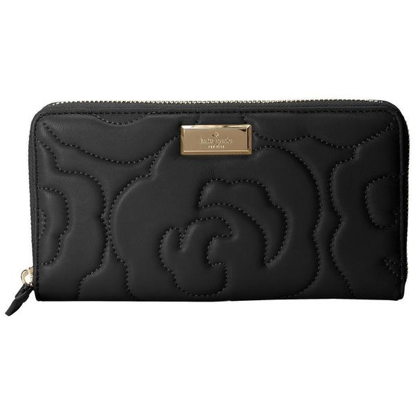Kate Spade New York Sedgewick Lane Ro Sweets Black Leather Wallet with Embossed Floral Design