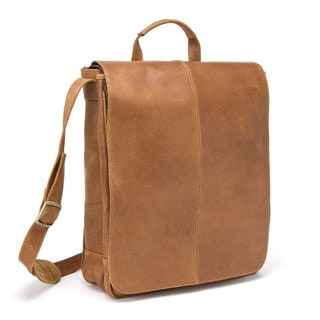 LeDonne Leather Distressed Leather Vertical 17-inch Laptop Messenger