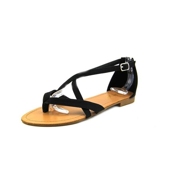 Anna Women's 'Adele-2' Black Polyurethane Sandals