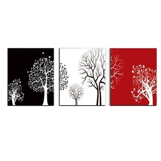 Black White Red Canvas 3 Piece Tree Wall Painting