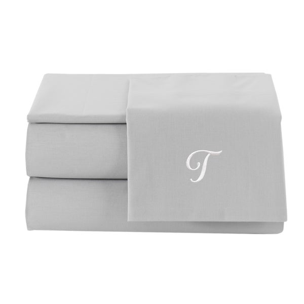 Pamuk Luxury Monogrammed Silver Grey Solid 300 Thread Count Turkish Cotton 4 Piece Sheet Set