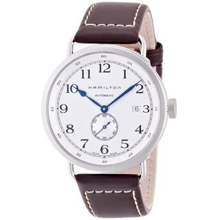 Hamilton Men's H78465553 'Navy Pioneer' Automatic Brown Leather Watch