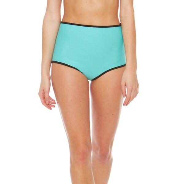 Bra Society Neoprene Aqua High Waisted Style Bikini Bottom