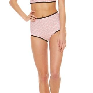 Bra Society Neoprene Pink High Waisted Style Bikini Bottom
