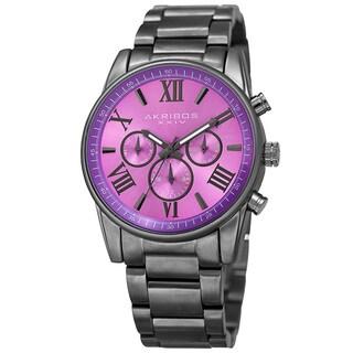 Akribos XXIV Women's Swiss Quartz Multifunction Purple Gun Stainless Steel Bracelet Watch