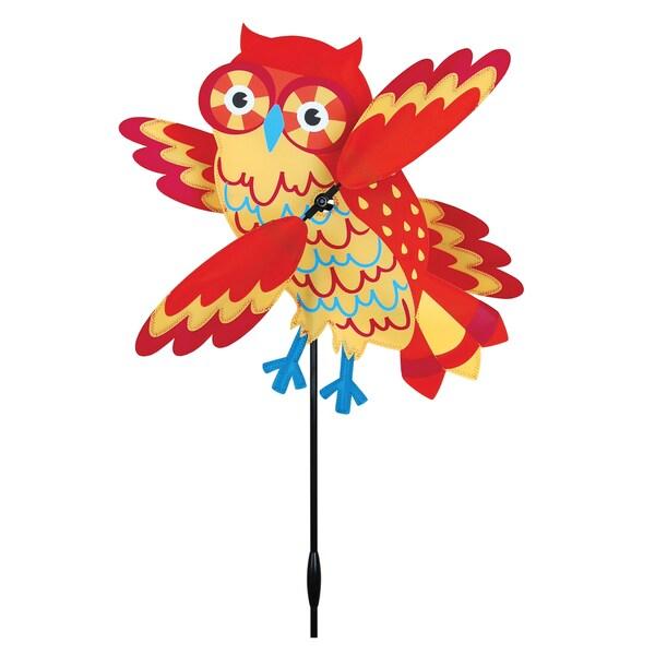 17-inch Orange Owl Whirligig