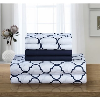 Chic Home 12-Piece Tymon Sheet Set,Navy with 2 Bonus Pillow cases