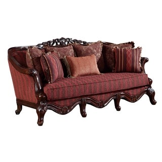 Global Furniture Red Wood Sofa