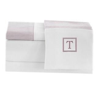 Pamuk Luxury Monogrammed Taupe Beige Stripe 300 Thread Count 100-percent Turkish Cotton 4-piece Sheet Set