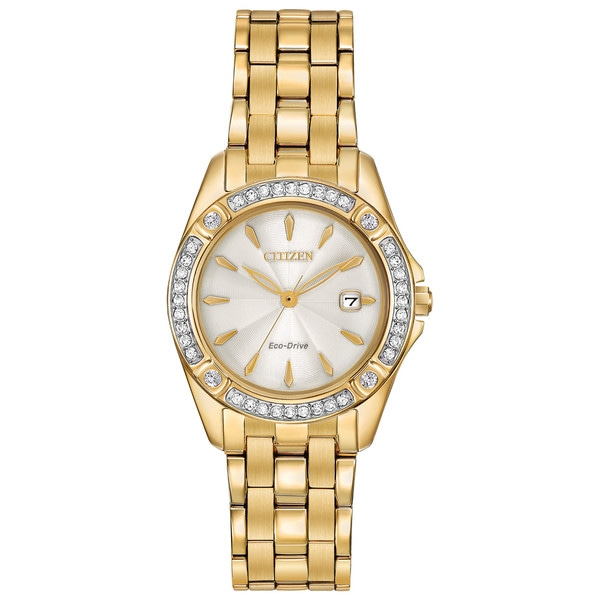 Citizen Women's Goldtone Stainless Steel Silhouette Crystal Eco-Drive Champagne Dial Austrian Crystal Watch