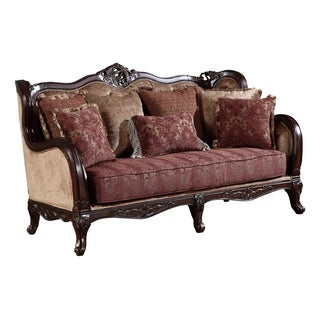 Global Furniture Yellow Burgundy Upholstered Loveseat