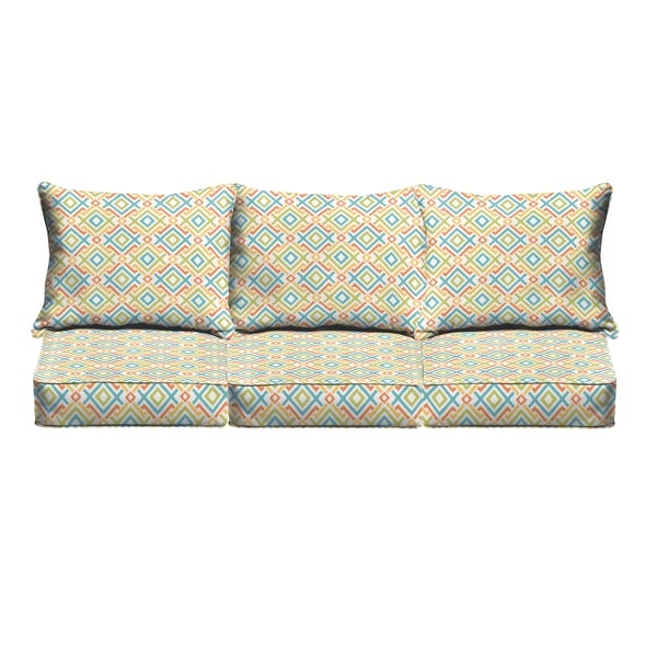 Blue Green Geometric Indoor Outdoor Corded Sofa Cushion Set 18616410 Shopping