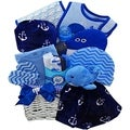 Whale Tails Fishing Fun Blue Baby Boy Gift Basket