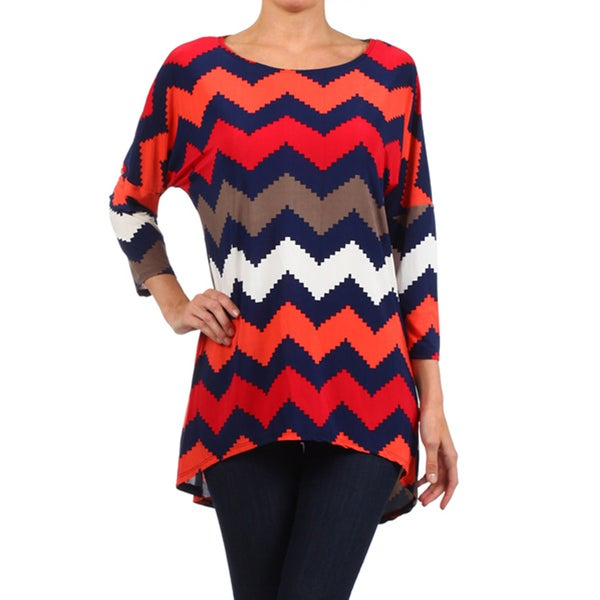 MOA Collection Women's Navy Chevron Striped Top