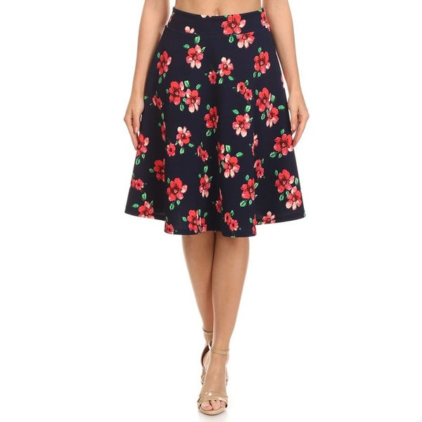 MOA Collection Women's Blue Floral A-line Skirt
