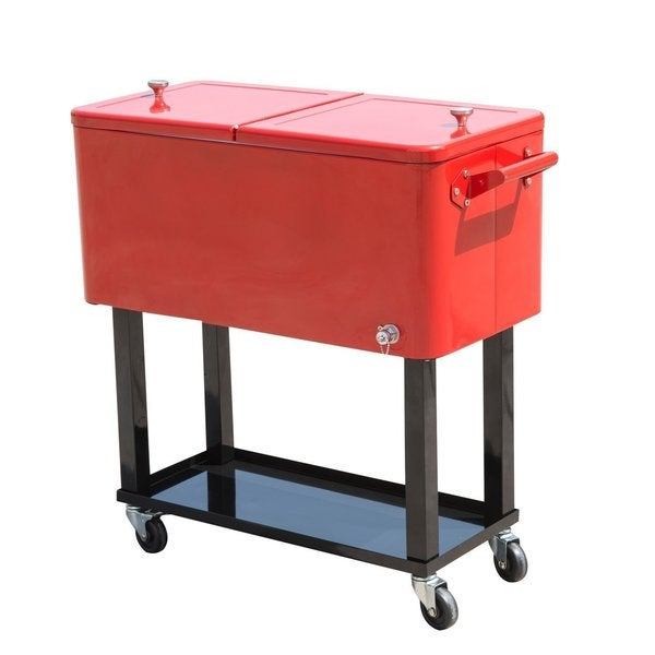 Hio 73 qt outdoor patio cooler table on wheels rolling cooler with shelf 18616514 overstock