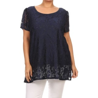 MOA Collection Plus Size Women's Lace Short Sleeve Top