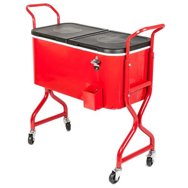 Hio 80 qt outdoor patio cooler table on wheels rolling cooler 18616550 overstock com