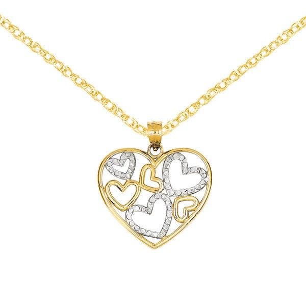 Versil 14k Two-tone Gold Diamond-cut Heart Pendant