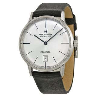 Hamilton Men's H38455751 'Intra-Matic' Automatic Black Leather Watch