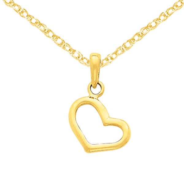 Versil 14k Yellow Gold Solid Polished Plain Heart Pendant