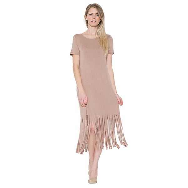 JED Women's Casual Cut Out Soft Fringe Midi T-Shirt Dress