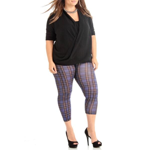 Women's Dark Purple Plaid Plus Size Legging