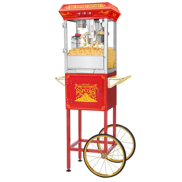 Red Popcorn Popper Machine Cart