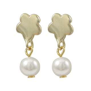 Gold Finish Flower Faux Pearl Girls Dangle Earrings
