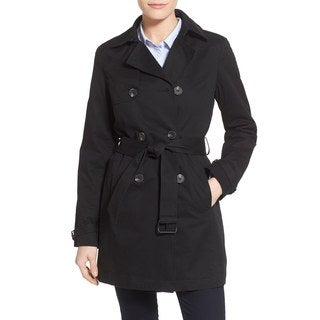 T Tahari Ladies Flare Trench Coat in Black with Eyelet Back Design