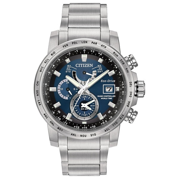 Citizen Men's Stainless Steel World Time A-T Blue Dial Eco-Drive Watch