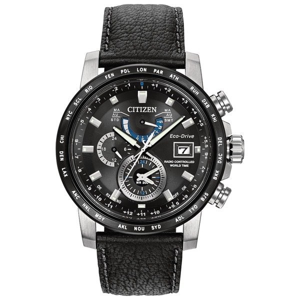 Citizen Men's Black Leather Stainless Steel World Time A-T Black Dial Eco-Drive Watch