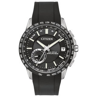 Citizen Men's Black PU Stainless Steel Satellite Wave-World Time GPS Multifunction Eco-Drive Watch
