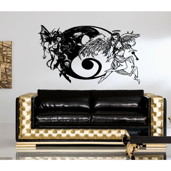 Angels and Demons good and evil Wall Art Sticker Decal
