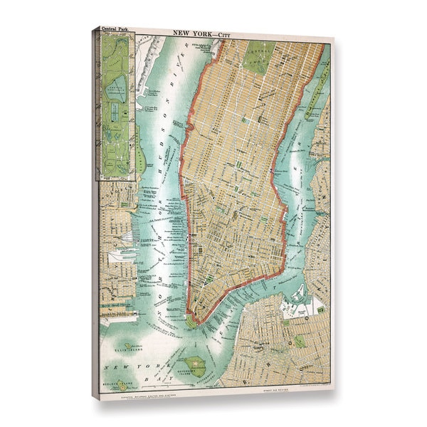 American School 'Antique Map of Lower Manhattan and Central Park,1892' Gallery Wrapped Canvas