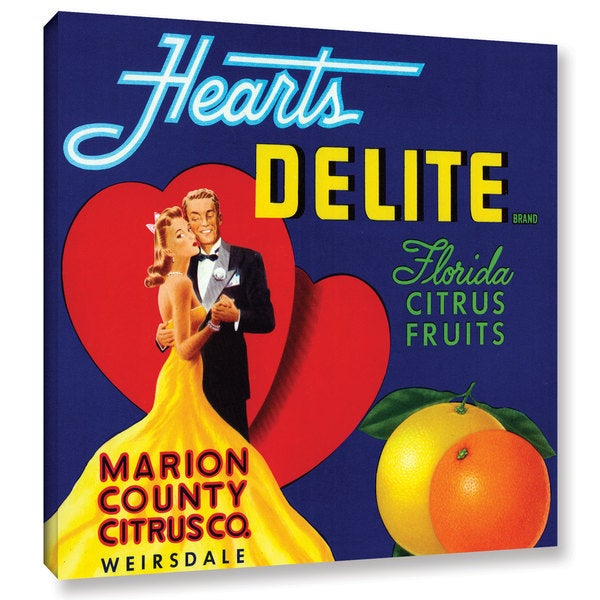 American School 'Hearts Delite Fruit Crate Label, c.1920' Gallery Wrapped Canvas