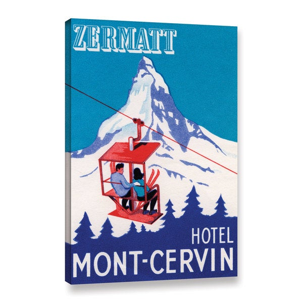 American School 'The Zermatt Peak with Skiers on Ski Lift,1935' Gallery Wrapped Canvas
