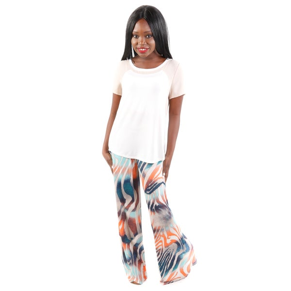 Hadari Women's (2 Piece Set) Two-tone Tee and Tiger Print Wide-Leg Pants