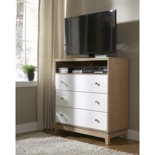 Media Shelving Unit with Three Drawers in White