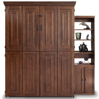 Mahogany Finish Queen Murphy Bed with One Door Bookcase