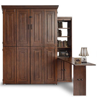 Mahogany Finish Bookcase Desk Queen Murphy Bed