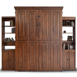 Mahogany Finish Queen Murphy Bed with Two Door Bookcase