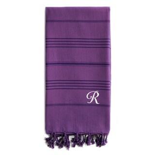 Authentic Sol Monogrammed Pestemal Fouta Purple Tonal Stripe Turkish Cotton Bath/ Beach Towel
