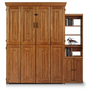 Chestnut Finish Queen Murphy Bed with One Door Bookcase