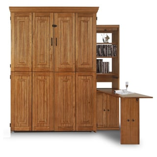 Chestnut Finish Queen Murphy Bed with One Door Bookcase with Flip-Down Desk