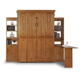 Chestnut Finish Queen Murphy Bed with Two Door Bookcases with Flip-Down Desk